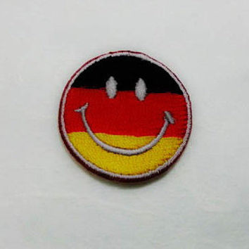 Germany Smiley Face Iron on Patch - Germany Flag Applique Embroidered Iron on Patch/Germany Flag  Patch
