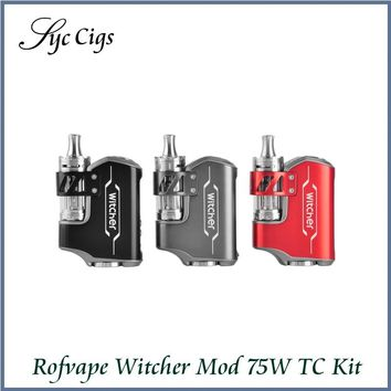 Original Witcher ROFVAPE 75W BOX MOD Kit E Cigarette TC Kit with 5.5ml Submerged Atomizer Electronic Cigarette Vape Kit
