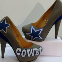 Dallas Cowboys Fans.... SWARVOSKI CRYSTAL High Heels ...All Sizes