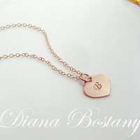 SALE Rose Gold Heart Necklace, Initial Necklace, Mothers Necklace, Grandma Gift, 14K Yellow or Rose Gold fill, Bridesmaid, Gifts
