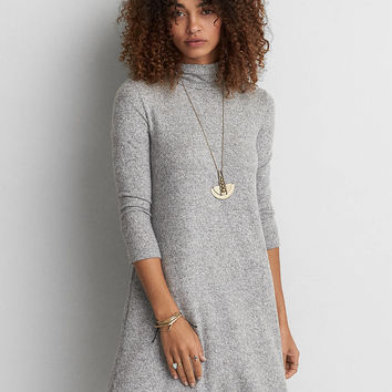 AEO Soft & Sexy Plush Turtleneck Dress, Heather Gray