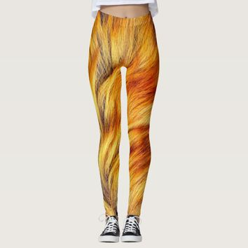 Cool horse tail fur texture trendy design leggings