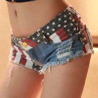 Sexy Nightclub Spice Modern Flag Splicing Low-rise Jeans Shorts