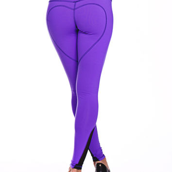 Heart Butt Yoga Legging - Grape Purple