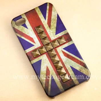 iPhone 4 Case, Vintage Flags iPhone 4s Case, Studded Iphone 4 Cases, Britain Flags  iPhone 4 Case