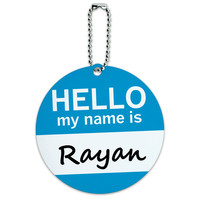 Rayan Hello My Name Is Round ID Card Luggage Tag