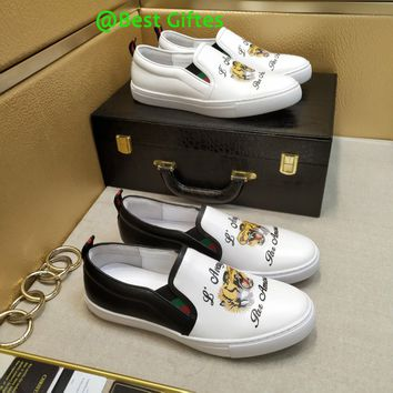 GUCCI Men Flats Leather Sneakers Sport Shoes Casual sandals Best Quality tiger