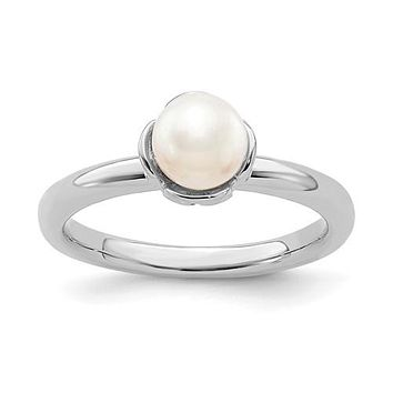 Sterling Silver Stack Expressions White FW Cultured Pearl Ring