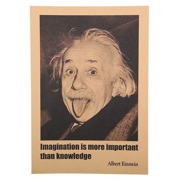 1 pcs 51X35.5cm Inspirational Albert Einstein Posters Home Decoration Wall Stickers Imagination Is More Important Than Knowledge