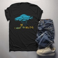 Men's UFO T Shirt I Do Believe Hipster Space Shirt Extraterrestrial Shirts Graphic Tee