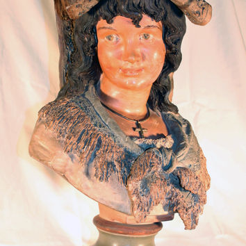 Painted Terracotta Bust