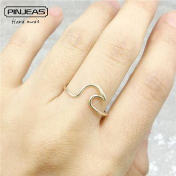 PINJEAS Wave Surf Beach Ring handmade Sterling ring Wire Wrap Filled Bride Girlfriend Gift anneau Simple Wedding Jewelry