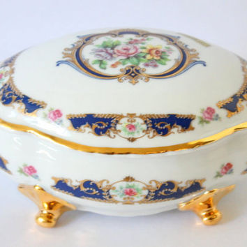 Vintage Limoges France Footed Floral Porcelain Vanity Box