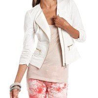 Gold Zipper Motorcycle Blazer: Charlotte Russe
