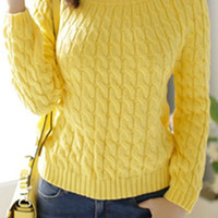 Cable-Knit Retro Long Sleeve Sweater