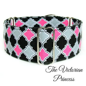 "Hot Pink Wide Dog Collar, Buckle Collar, Martingale Collar, Greyhound Collar, 2 Inch Regal Whippet Collar, 1"" martingale, girly collar"