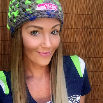 Seattle Seahawks Wool Hat Hair Cap Earwarmer Accessory Band Pink Hawks Fashion Blue Green Grey Women Girl Football Breast Cancer Awareness