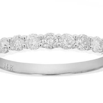 AGS Certified 0.46 Carats 1/2 cttw  I1-I2 Diamond Wedding Band 14k Gold (H-I)