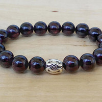 11 mm Mens Bracelet GARNET Men Bracelete Beaded Men Bracelet Mens Beaded Bracelet Men's Bracelet Men Bracelete Bracelet Mens Beaded