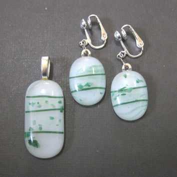 Think Spring - Clip On Earring and Pendant Set, Fused Glass Jewelry  by mysassyglass