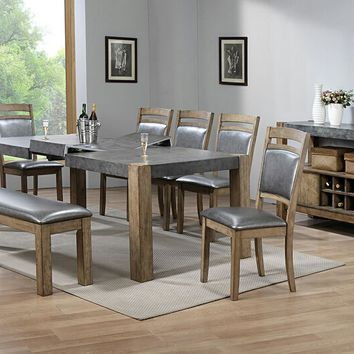8 pc Barrister collection rustic distressed natural wood finish dining table set with bench