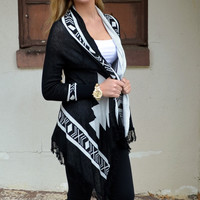 Run With The Wild Black Tribal Cardigan