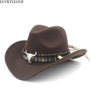 969237ec79358 LUCKYLIANJI Child Kid Boy Girl Wool Felt 100% Western Cowboy Hat