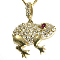 SOLID 14K YELLOW GOLD SPARKLY BLING CLEAR CZ RED EYE HAWAIIAN FROG PENDANT 15MM