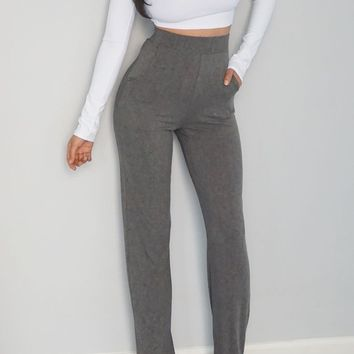 Encore Ribbed Pant- GREY