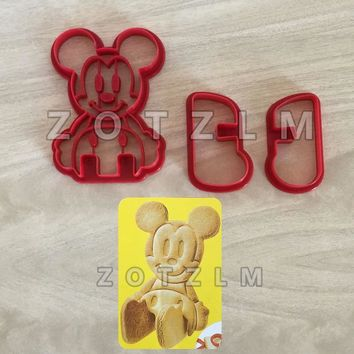 3 pcs/set Cute Cartoon 3D Mickey Mouse Plastic Stereoscopic Cookie Cutters Pastry Sandwich Toast Cake Mold Baking Tools SLP090