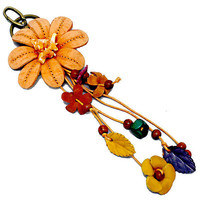 Orange Leather Flower Multi-Color Wood Bead Flower Key Chain, Purse Accessory, Bag Charm, gift  USA SELLER