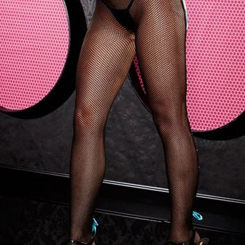 Fishnet Pantyhose with Blue Lace Up Backseam in OS