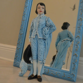Tall Vintage Blue Musketeer Decor Figurine - Musketeer Ceramic Statue - Louis XIV Decor