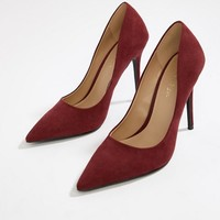 Miss Selfridge pointed pumps in burgundy at asos.com