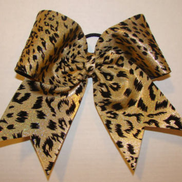 Shimmery Gold and Black Cheetah Cheer Bow