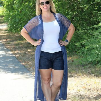 Sheer & Lace Navy Reeves Duster