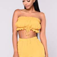 Have Fun Smocked Top - Mustard