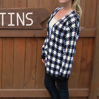 vintage black and white geometric oversized slouchy button down cardigan. made in the USA. L/XL
