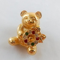Vintage Avon Christmas Jewelry Bear with Wreath Brooch Christmas Tie Tack Pin