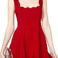 Red Backless A-Line Mini Dress