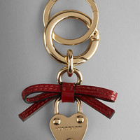 Bow Detail Heart Padlock Key Charm