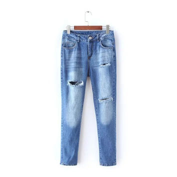 Stylish Rinsed Denim Ripped Holes Jeans Women's Fashion Skinny Pants [4919028100]