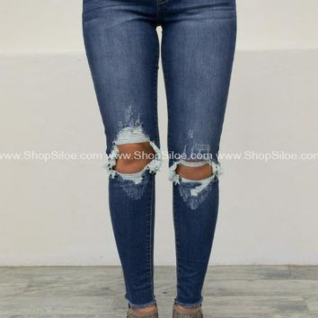 Ripped Knee Medium Skinny Denim