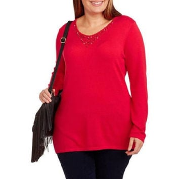 Concepts Women's Jewel Embellished V-Neck Sweater, Red, 4X