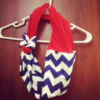 Ole miss red and navy chevron infinity scarf