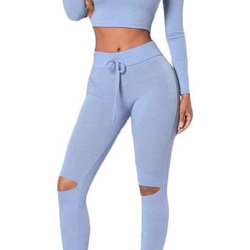 Body Con Cropped Hoodie High Waist Legging Set