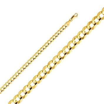 14k Yellow Gold Hollow Men's 4 mm Cuban Curb Chain Necklace with Lobster Claw Clasp 20""