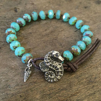 Sea Horse Knotted Leather Wrap Bracelet, Seahorse Turquoise Beach, Endless Summer, Beach Jewelry by Two Silver Sisters