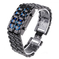 Digital Lava Style Blue LED Sports Faceless Watch For Women H4397BL (Color: Black) = 1646036868