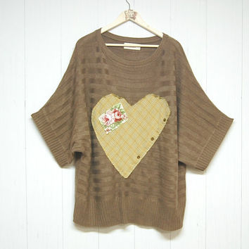 XL/XXL Oversized Slouchy Sweater, Mori Girl, Mocha, Valentine Heart Sweater, Boho Chic, Upcycled Clothing, Anthropologie Inspired